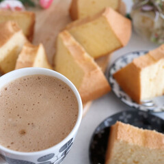 手作りスイーツ/手作りシフォン/シフォンケーキ/おうちカフェ シフォンケーキ焼きました😊 おうちカフェ…