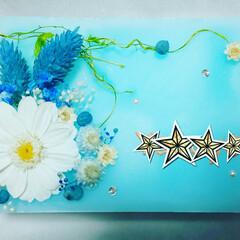 キャンドルアーティスト/ブルー/ドライフラワー/プリザーブドフラワー/名前入り/ピクチャーキャンドル/... オーダー品♡  ローズの香り名前入り♡