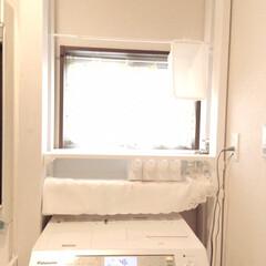 キャンドゥ/ダイソー/セリア/100均/DIY/収納/... 洗濯機上部から洗面台下まで木材で繋ぎまし…