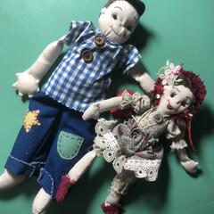 手芸/雑貨/ハンドメイド 長男の陸也と、長女の彩香人形まで、作って…