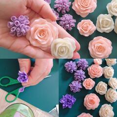 樹脂粘土 モデナ(その他粘土工芸用品)を使ったクチコミ「時間があれば、手仕事してます😆 お花のデ…」