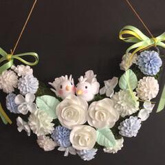お花パーツ/ハンドメイド/雑貨/ダイソー/わたしの手作り まだ、大きめお花パーツも配色分けして、こ…