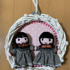 リース/人形 お客さんに頼まれた双子ちゃんリース