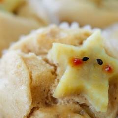 可愛いな/おやつな時間/黒糖/あんこ/さつま芋/おめかし/... 黒糖さつま芋蒸しパン@あんこ入り おもて…