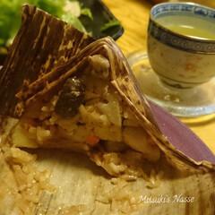 まとめ買いセット 天然竹皮 7枚入×5袋 合計35枚(キャラ弁グッズ)を使ったクチコミ「飲茶と一緒に中華ちまきを作りました🌸具沢…」