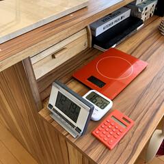 アズワン 大画面タイマー A-541白 BAZ0201(クッキングスケール)を使ったクチコミ「キッチンカウンターには、いつでも使いやす…」