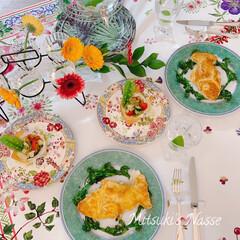 食卓/インテリア/ダイニング/テーブルウェア/春のコーディネート/テーブルコーディネート/... 今日はとても暖かく春らしい気候だったので…