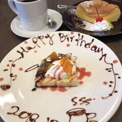誕生日フォト/スイーツ 昨日は夫の誕生日 近くのカフェで スイー…