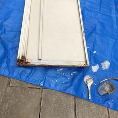 ペンキ塗り 先日洗ってた物置のサビ部分を塗装します。…