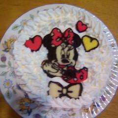 ディズニー/誕生日ケーキ/キャラケーキ/ミニー/DIY ミニーも作ってました! 忘れてた。 出来…