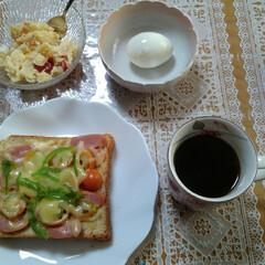 朝食/テーブル/我が家のテーブル 朝食  チーズトースト (ライ麦パン、ベ…(2枚目)