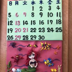 「ダイソーの樹脂粘土でカレンダー! 4月は…」(1枚目)