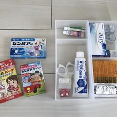 テプラ/薬収納/薬/快適掃除/収納/雑貨/... 部屋の薬収納 買ってきたら箱から出します…