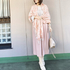 guコーデ/ユニクロコーデ/今日のコーデ/ママコーデ/プチプラコーデ/ファッション ピンクとベージュで とことん春っぽくして…