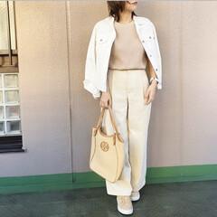 ユニジョ/ファッション/ママコーデ/今日のコーデ/プチプラコーデ/guコーデ 半袖のワッフルクルーネックTに、ホワイト…
