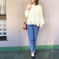 プチプラコーデ/通勤コーデ/guコーデ/今日のコーデ/ファッション/ママコーデ シンプルコーデ✨ GUのふんわりとしたパ…