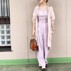 ママコーデ/今日のコーデ/ファッション/通勤コーデ/guコーデ ピンク〜ラベンダーのグラデーションでコー…