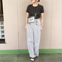guコーデ/ママコーデ/プチプラコーデ/今日のコーデ/ファッション/ユニジョ UNIQLOUのクルーネックTに、GUの…