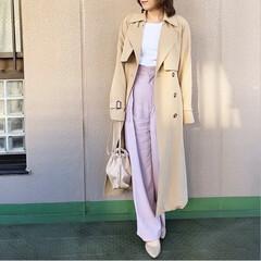 ユニクロコーデ/guコーデ/今日のコーデ/プチプラコーデ/ママコーデ/ファッション ラベンダーピンクのワイドパンツは、 可愛…