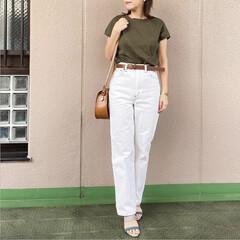 guコーデ/プチプラコーデ/ママコーデ/通勤コーデ/今日のコーデ/ファッション 夏に濃色のデニムは重く感じるけど、白なら…