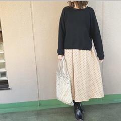 ママコーデ/guコーデ/今日のコーデ/ファッション  GUのドット柄のワンピースにブラックの…(1枚目)