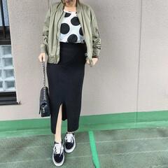 ママコーデ/プチプラコーデ/今日のコーデ/ユニクロコーデ/ファッション UNIQLOのリブニットスカートは、スリ…