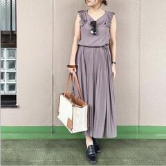プチプラコーデ/ママコーデ/通勤コーデ/今日のコーデ/ファッション ワンピースに見えるけど実はセットアップ💕…