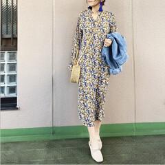 ママコーデ/プチプラコーデ/ファッション/今日のコーデ/通勤コーデ ヴィンテージな花柄のワンピースを1枚でサ…
