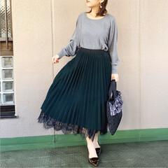 休日コーデ/ファッション/今日のコーデ/プチプラコーデ/ママコーデ リバーシブルプリーツスカートは、クラシッ…