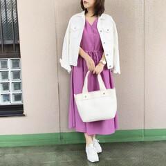 通勤コーデ/ユニジョ/guコーデ/今日のコーデ/ファッション/プチプラコーデ GUのパープルのワンピースを軸として、 …