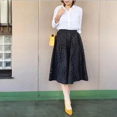 ユニクロコーデ/今日のコーデ/プチプラコーデ/ママコーデ/ファッション 黒のスカートのカッティングレースと、イエ…