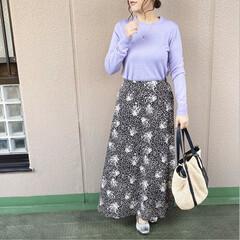 ユニクロコーデ/ママコーデ/プチプラコーデ/今日のコーデ/ファッション UNIQLOのラベンダー色のニット💜💟 …