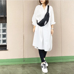 ファッション/休日コーデ/今日のコーデ/プチプラコーデ/ママコーデ ビッグシルエットの白いシャツワンピ👗 ゆ…