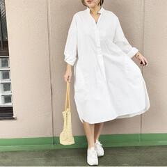 プチプラコーデ/ファッション/今日のコーデ/ママコーデ/休日コーデ ゆるっとした白シャツを1枚で着てみました…
