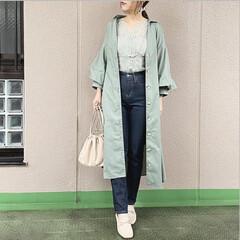 プチプラコーデ/今日のコーデ/ママコーデ/ユニジョ/ファッション ウエストタック前開きワンピースは、ゆと…(1枚目)