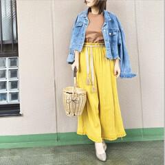 今日のコーデ/プチプラコーデ/ママコーデ/ユニクロコーデ/ファッション ブラウン×イエロー💛🧸 鮮やかなマスター…