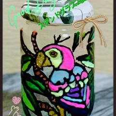 Seria/リメイク/空き瓶/100均レモン/ダイソー/雑貨/... 空き瓶リメイクで ステンドグラス  2個…