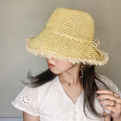 ママファッション/紫外線対策/ナチュラル/麦わら帽子/ラフィアハット/おしゃれ/... アンニュイな感じがたまらない♡ フリンジ…