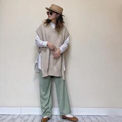 マタニティコーデ/ママファッション/ママコーデ/レイヤードスタイル/レイヤードコーデ/ミントグリーン/... 夏に向けてカンカン帽を新調♪ 同色のねじ…