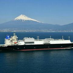 海上試運転/航空写真/富士山 富士山と船舶  試運転の時には必ず航空写…