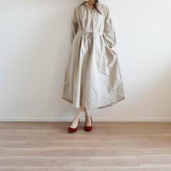 おうちコーデ/ワンピースコーデ/ワンピース/ジーユー/GU/ファッション/... SNSで大人気のバンドカラーワンピース✨…
