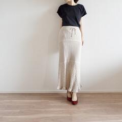 透かし編みニットスカート/ジーユー/UNIQLO/プチプラ/コーデ/ファッション/... 昨年から引き続き愛用の透かし編みニットス…