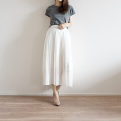 プリーツスカート/ファッション/おしゃれ/夏ファッション/ユニクロ/GU 黒を買って気に入ったフレンチスリーブ✨…
