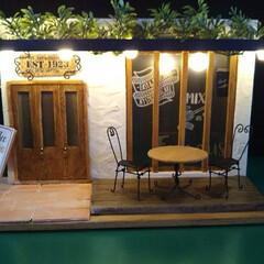 インテリア雑貨/100均/ダイソー/セリア/ハンドメイド/インテリア/... バーゴラのあるオープンカフェ。玄関前をテ…