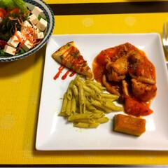 チキンのトマト煮 チキンのトマト煮で夕飯^_^