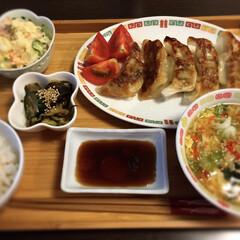 ポテトサラダ/餃子/夕飯/お家ご飯 夕飯は餃子定食〜!
