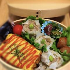 卵焼き/キーマカレー/シュウマイ/わっぱ弁当/お弁当/わたしのごはん お弁当に入れる卵焼き、キーマカレーの残り…(1枚目)