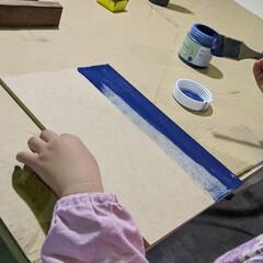 黒板/ウォールナット/ネイビー/チョークボードペイント/ウッドジェルステイン/アサヒペン/... ドーモ!先日、娘様(6才)の「何か作りた…(4枚目)