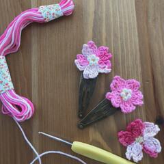 さくら/モチーフ編み/刺繍糸/かぎ針編み/春/わたしの手作り/... ダイソーの刺繍糸で桜モチーフ🌸