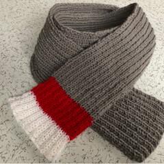 毛糸/棒針編み/編み物/マフラー/DIY/ハンドメイド/... 編みました、マフラー。  夫からオーダー…